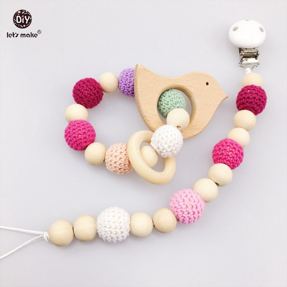 Lets Make Baby Nursing Products 2pc Pacifier Clip Crochet Beads Chew Wooden Beads Car Seat Toy Bird Wood Teether Pendant