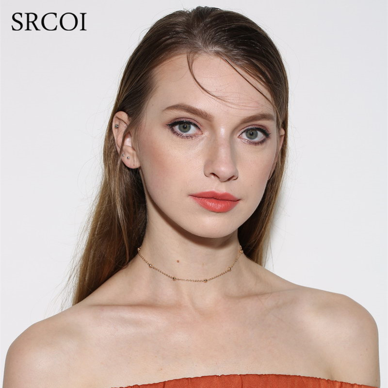 SRCOI Delicate Gold Color Satellite Choker Chain Necklace Colar Thin Beads Chains of Silver Chokers For Collier Femme New 2017