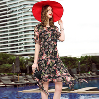 100 Real Silk Dress For Women Large Size Casual Chiffon Print Flower Loose Dreses For Female