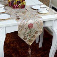 Fashion Amazing Chinese vintage style gold leaf embroidery flowers table runner Lace Luxury Table flag