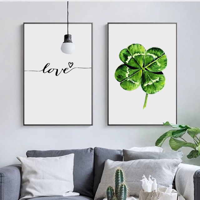 Nordic Minimalist Wall Art Picture Green Leaf Plant Canvas Print Poster Painting Scandinavian LOVE Home Decor No Frame