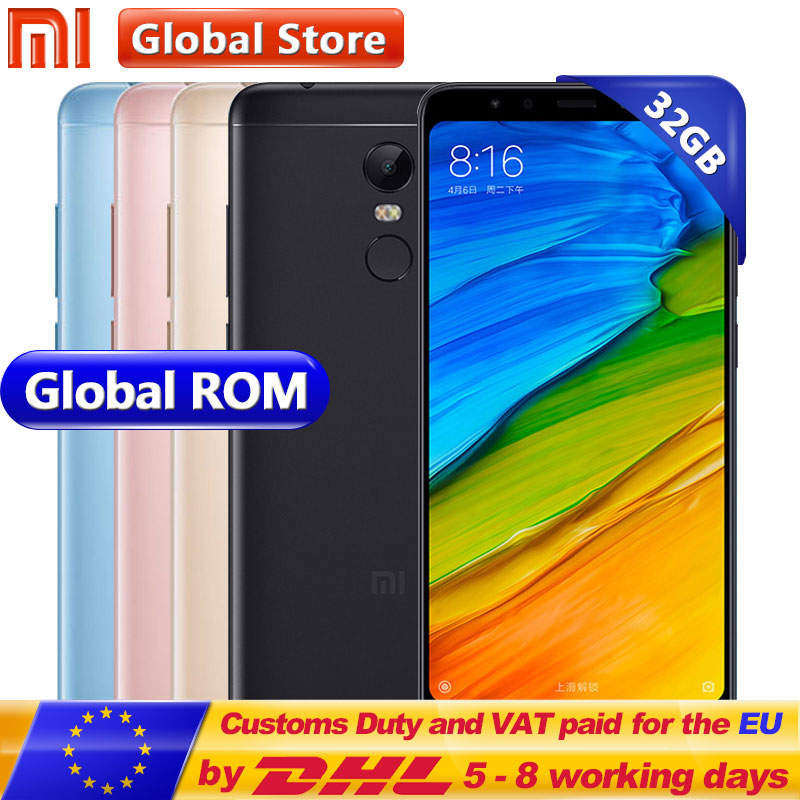 Оригинальный Xiaomi Redmi 5 плюс 32 ГБ Встроенная память мобильного телефона 3 ГБ Оперативная память Восьмиядерный процессор Snapdragon 625 5,99 дюймов 18:9 ...