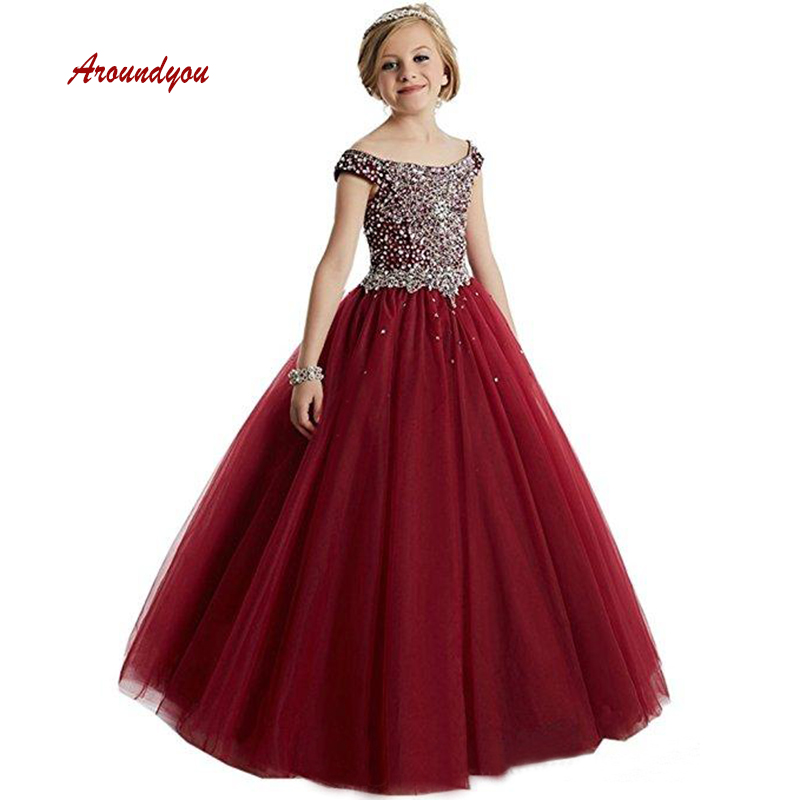 Lovely Flower Girl Dress for Party and Weddings Burgundy Luxury Pageant First Holy Communion Girls Dress for Girls Gown 2019