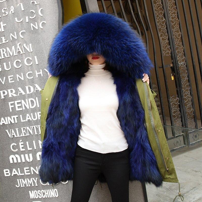 Натуральный Лисий мех выстроились утолщение теплые зимние пальто Верхняя одежда Женщины Большой натуральный мех енота воротник с капюшоно...