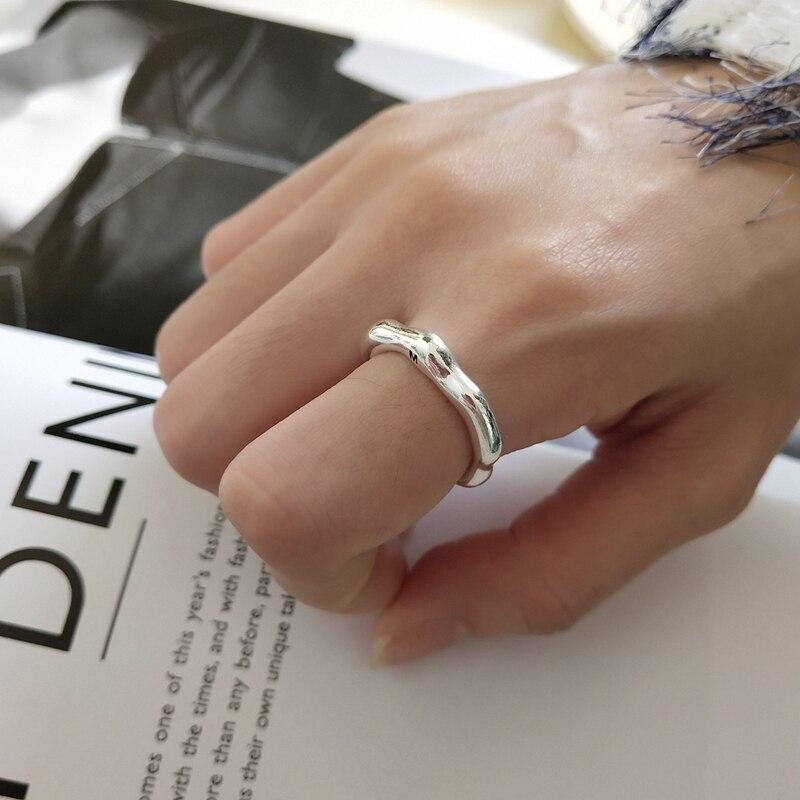 Inzatt Echt 925 Sterling Silber Minimalis Glatte Oberfläche Einfache Einstellbare Ring 2018 Edlen Schmuck Für Frauen Party Zubehör Ringe