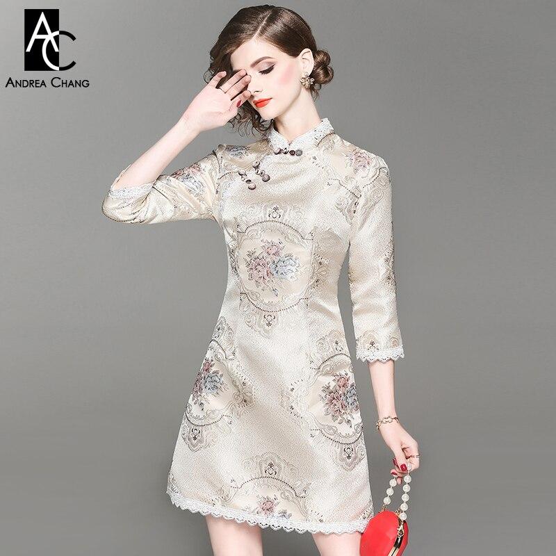 557a069056 Femme ligne Chinois Mode Robe De Style Garnitures Dentelle Beige Vintage  Blanche Bleu Floral A Hiver Motif Rose Automne A5qpx
