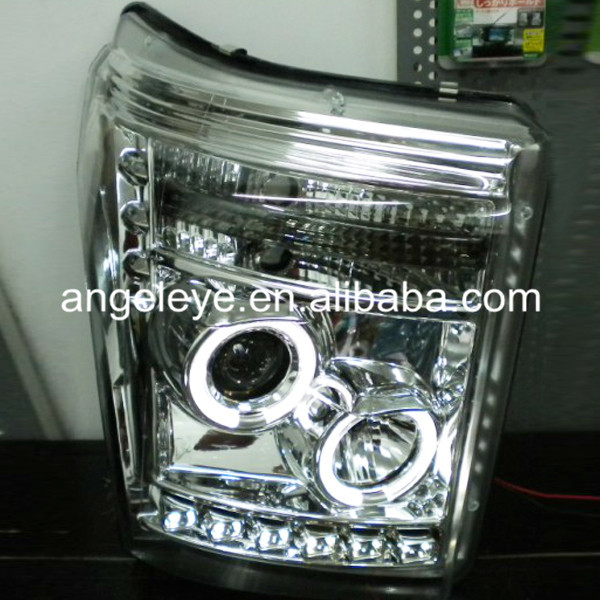 FOR FORD Raptor F250 F350 F450 F550 Super Duty LED Head Light CCFL Angel Eyes Silver Color 2011-2014 Year