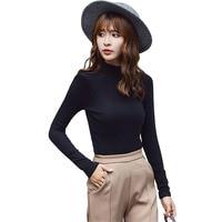 95 Cotton T Shirt Women Autumn Long Sleeve Turtleneck Basic T Shirts Female Elastic Tops Plus