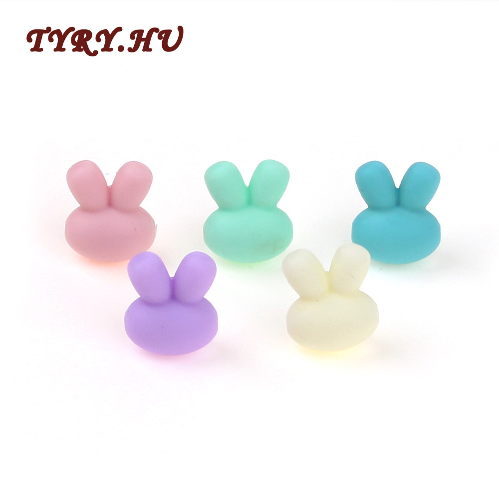 5pcs Silicone Teether Beads Biter Beads Baby Teething Pendant Silicone Pacifier Clips Teething Toys Rabit Shape DIY Gift