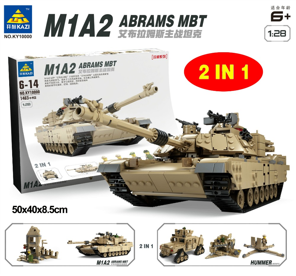 NEW Kazi  Century Military M1A2 Abrams Tank Cannon Deformation hummer cars brick gift Building Blocks Toys Compatible with  Toys abrams фотография
