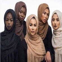 Cabeça muçulmana hijab lenço de boa qualidade cor sólida senhoras algodão crinkle plain enrugamento wrap bolha longo cachecol feminino crinkled xale