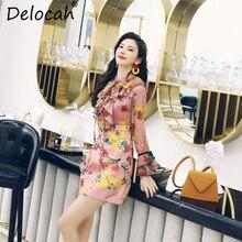 Delocah Women Spring Summer Dress Runway Fashion Designer Flare Sleeve Simple Bow Collar Gorgeous Ruffles Slim Mini A-Line