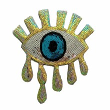 2pcs/lot gold eye sequins patches iron on seqined for clothes
