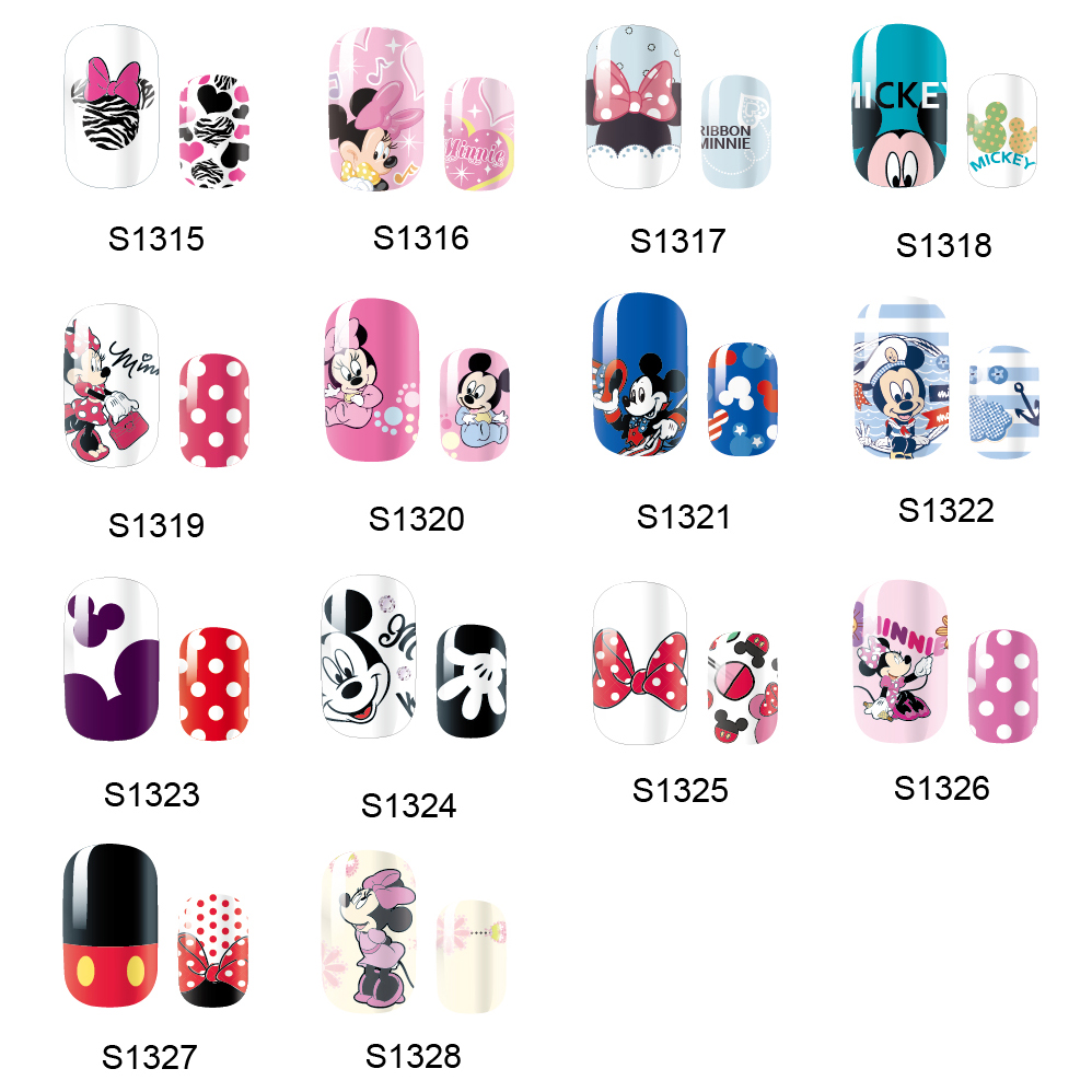 NEW 14 Tips NAIL Art Full Cover Self Adhesive Stickers Polish Foil Transfer Tips Wrap Mickey Minnie Mouse Cartoon Decal Manicure 138designs hot nail art stickers 100sheet adhesive nail tips polish decals wrap patch finger nail manicure decoration tools