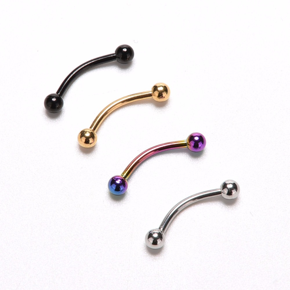 STAINLESS Solid STEEL CURVES BENT BARBELL RING With Balls Body Piercing Jewelry