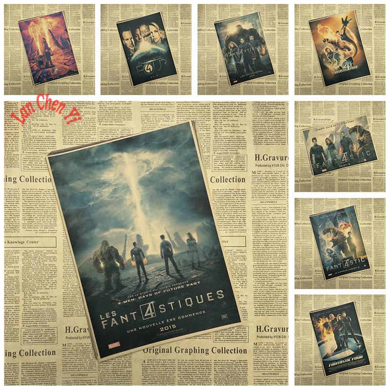 Fantastic Four Office Gift Room Dining Home Decor wall sticker Design Nostalgic Matte Kraft Paper Poster