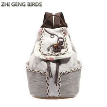 ZHI GENG BIRDS Ethnic Handmade Women Backpack School Teenagers Girl Vintage Lady Canvas Bag Backpacks Female