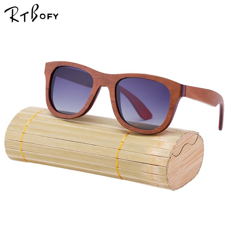 RTBOFY Skateboard Wood Frame Sunglasses Polarized UV400 Lens Retro Sunglass Women Wooden Luxury Brand Men Glasses Vintage. W3008 uv400 polarized mirror orange lens wood frame sunglasses