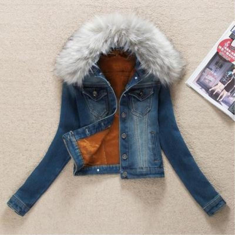 Chaud Plus Mode Manteau Hiver Femmes Le Denim Cachemire Vestes Col Dame Velours Coton Fourrure Survêtement 3xl De wzAxq1g4w
