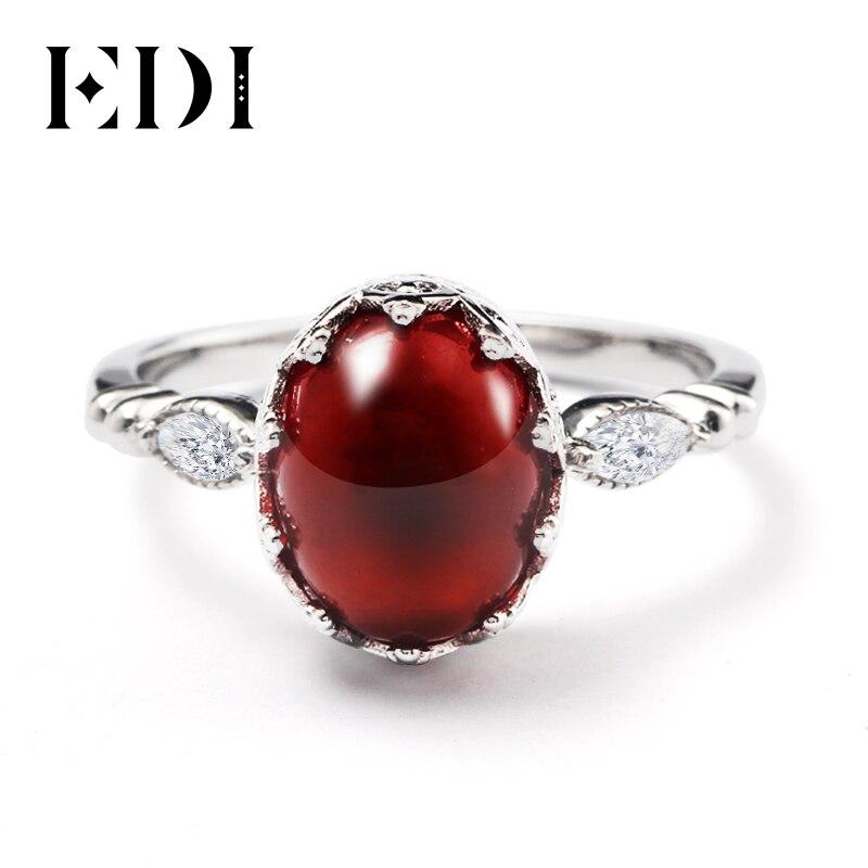 EDI Vintage Baroque Crown Garnet Ring Real 925 Sterling Silver Luxury Oval Cut Simulated Gemstone Ring For Women Jewelry vintage oval carved ring for women