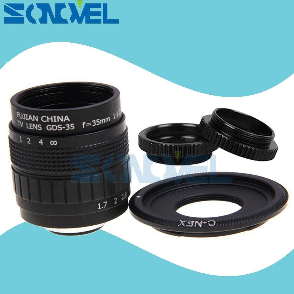 FUJIAN 35mm F1.7 CCTV lente Filme TV + C Monte + anel Macro para Sony E Mount Nex-5T Nex-F3 nex-6 Nex-7 Nex-5R A6300 A6100 A6500 A5100