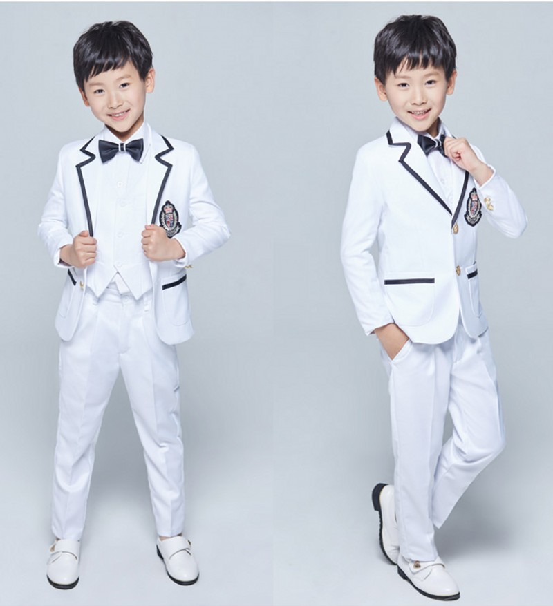 New Style Boy Tuxedos Notch Lapel Children Suit Two Buttons Kid Wedding Prom Suits Jacket Vest