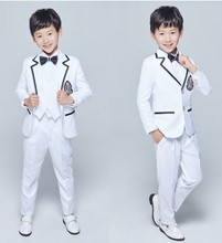 New Style Boy Tuxedos Notch Lapel Children Suit Two Buttons Kid Wedding/Prom Suits (Jacket+Vest+Pants+Tie +Shirt) NH19