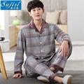 2017 Men Pajamas Home Clothing Long Sleeve warm stripe Pyjamas Sleepwear Male Cotton Plus Size pajama sets onesie sleep & lounge