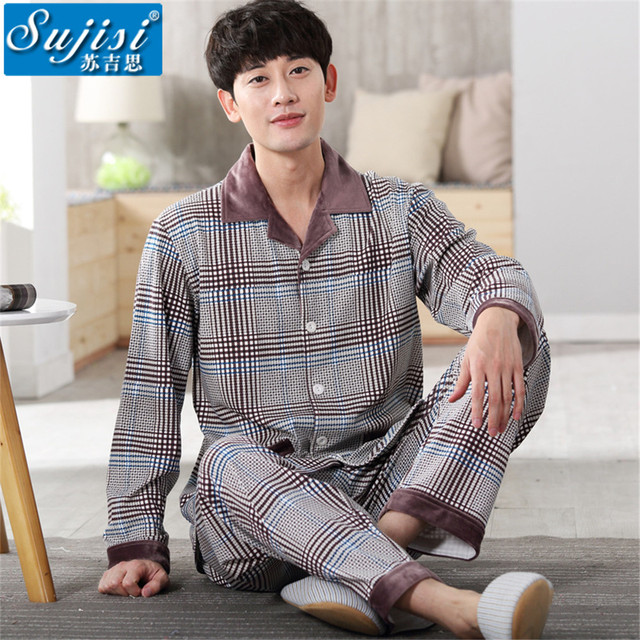 2017 Men Pajamas Home Clothing Long Sleeve warm stripe Pyjamas Sleepwear Male Cotton Plus Size pajama sets onesie sleep & lounge