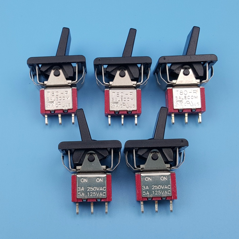 цена на 5Pcs SH R8015-P14 3Pin ON-ON Maintained 2 Position Mini Paddle Toggle Switch 5A/125VAC
