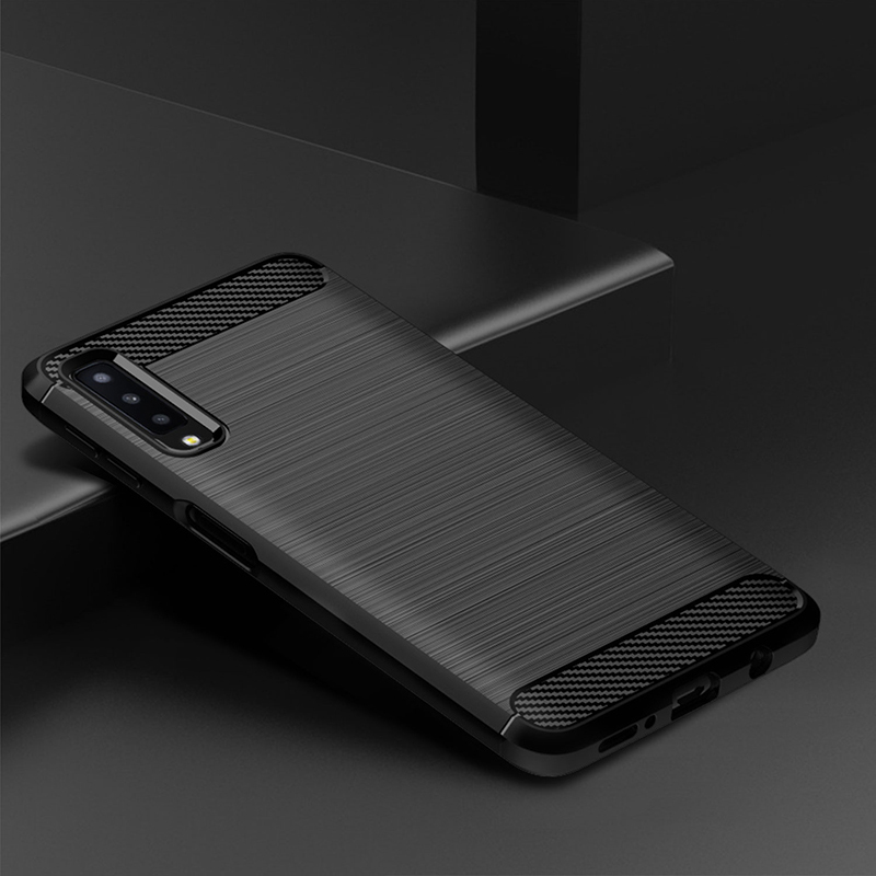 idoqi For Samsung Galaxy A7 2018 Case Luxury Brushed Silicone Carbon Fiber Texture Back Case Cover For Samsung A7 2018 A750 Capa(China)