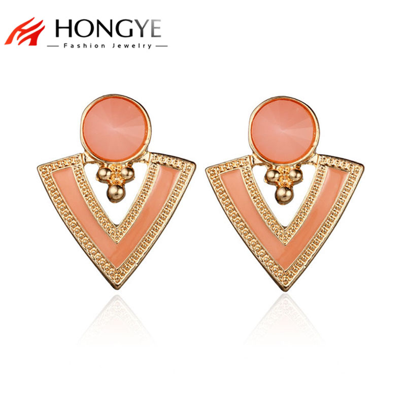 Triangle Resin Earrings Women New 2017 Jewelry Candy Color Gold-Color Enamel Stud Earrings For Women Fashion Brincos Dangler