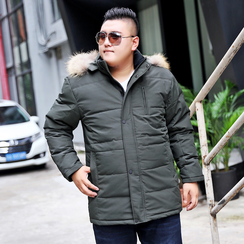 Large size men fur collar down jacket, 2017 new mans big yards stand-collar hooded white duck thick coat, male winter clothing