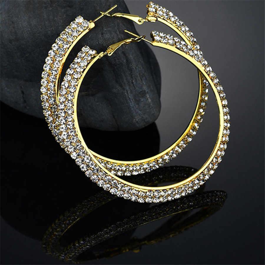 סיטונאי אופנה נירוסטה נשים עגילי עם CZ יוקרה קריסטל עגול עגילי גדול הצהרת תכשיטי זהב כסף צבע