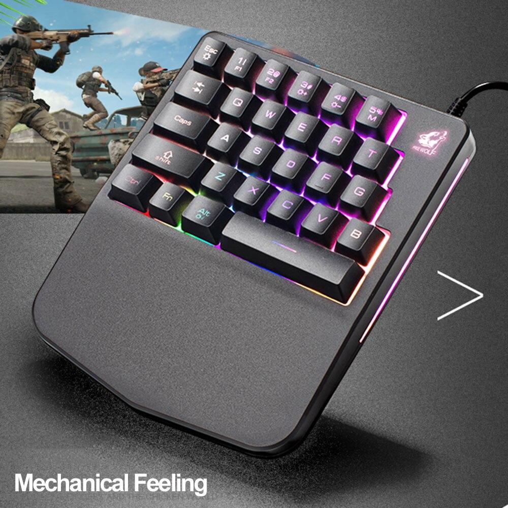 professional one hand wired mechanical feeling keyboard 28 keys led backlit usb ergonomic game. Black Bedroom Furniture Sets. Home Design Ideas
