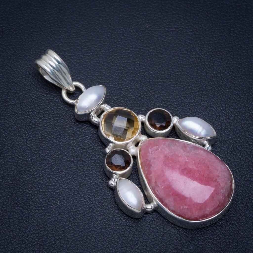 Rhodochrosite naturel, perle de rivière, Quartz fumé et Citrine pendentif 925 en argent Sterling 2