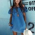 2017 Лето Сексуальная С Плеча Женщин Blue Jean Denim Dress Ruffle Mini Beach Dress Сарафан Дамы Причинно Клуб Party Dress