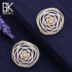 Image 3 - GODKI Luxury Geometry Cubic Zirconia Nigerian Big Stud Earrings For Women Wedding African Bridal Earrings boucle doreille femme