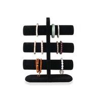 Высокий диапазон три слоя черного бархата Показать Полка браслет Brace Кружево ножной браслет часы показывают полки Jewellery Дисплей реквизит