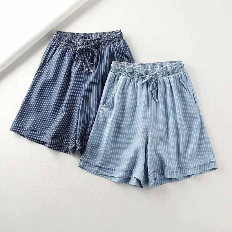 2019 New Arrival kobiety moda lato wysokiej talii sznurkiem w paski spodenki na co dzień kobiece krótkie spodnie jeansowe
