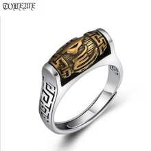 Handmade 925 เงินทิเบตหกคำ Proverb แหวนหมุนแหวนโชคดีแหวนปรับขนาดได้