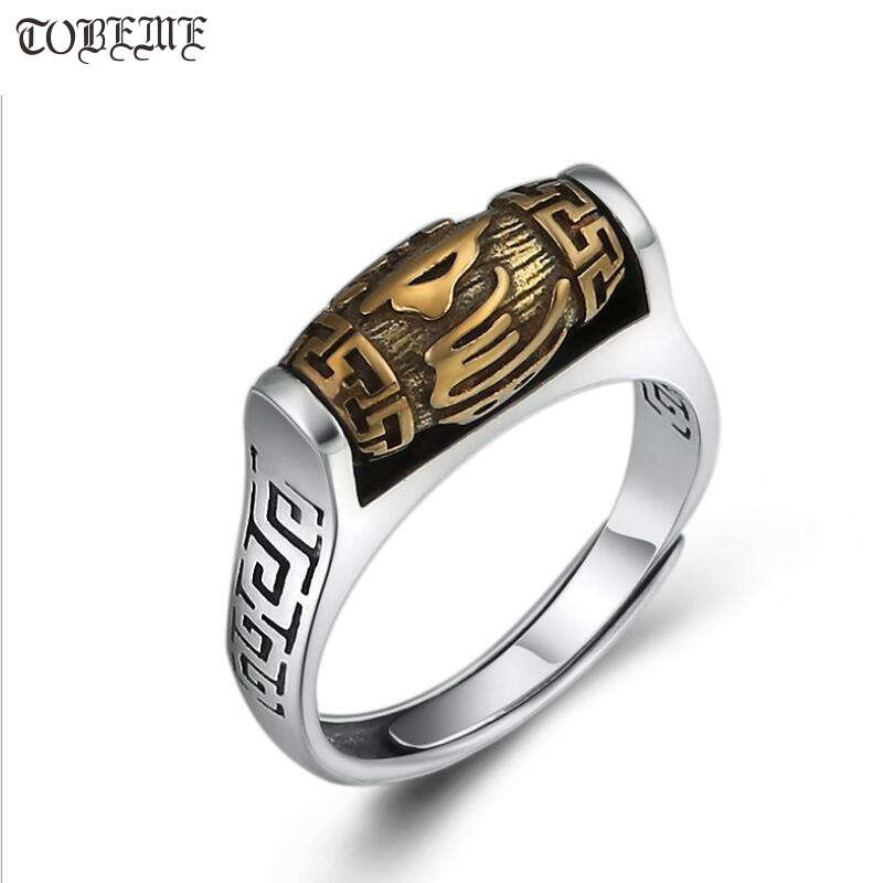 Handmade 925 Silver Tibetan Six Words Proverb Ring Turning Ring Good Luck Ring Resizable-in Rings from Jewelry & Accessories