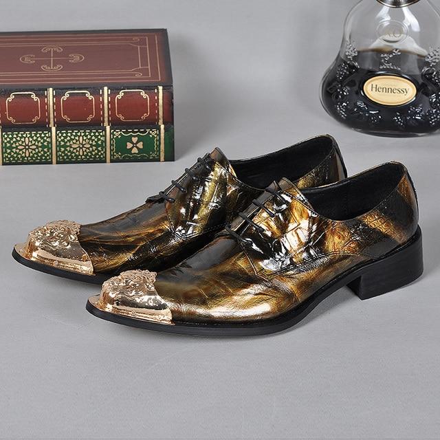 US $197.95 |2017 Vintage Style Partito Scarpe Da uomo Moda Scarpe A Punta Oxfords Britannico Lace Up Maschio Scarpe di Cuoio per le Imprese italiane