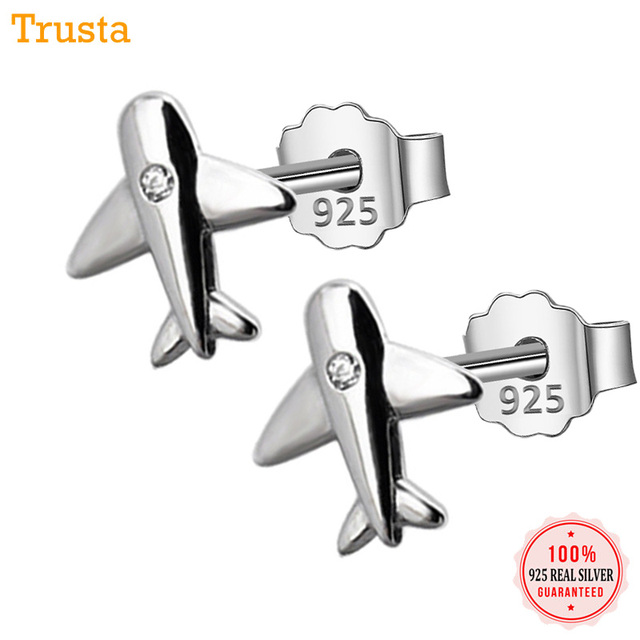 19bd75ce7 Trusta 100% 925 Sterling Silver Aircraft Airplane Plane 9mmX10mm Stud  Earrings Women's With Bright CZ