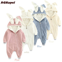 AGKupel Children Baby Romper Baby Girl Clothing Cotton Newborn Baby Rompers Kids Lovely Cute Rabbit Hooded Long Sleeves Jumpsuit