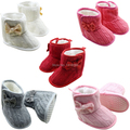 5 Color Toddler Knited Faux Fleece Crib Snow Boots Kid Bowknot Woolen Yam Fur Knit Shoes