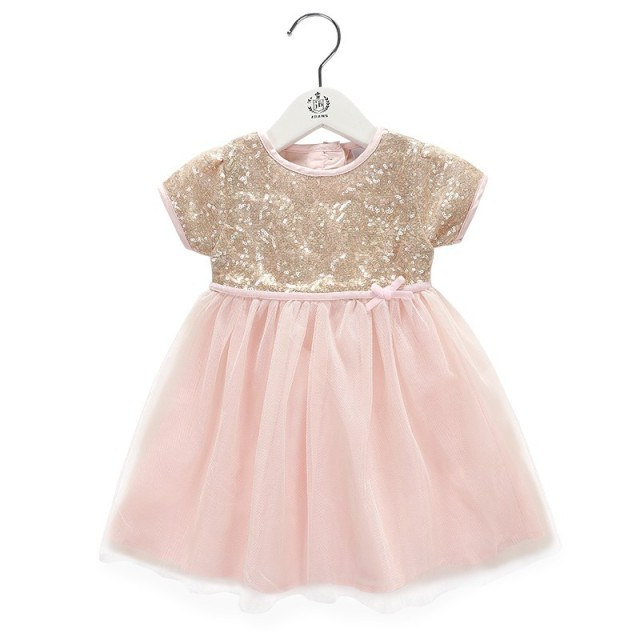 Baby Girl Dress Gold Sequin Bow Party Dresses Pink Tulle