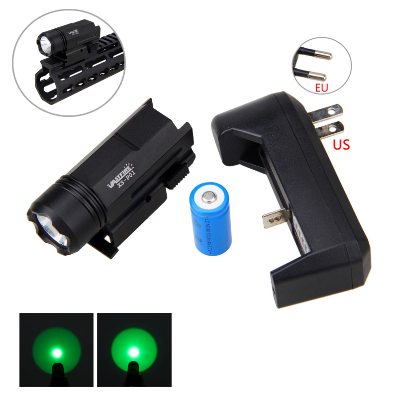 1000LM Hunting Light XPE Q5 Green LED Light 3 Modes Tactical 150 yard Weapon Light Torch with Mount and Battery Set