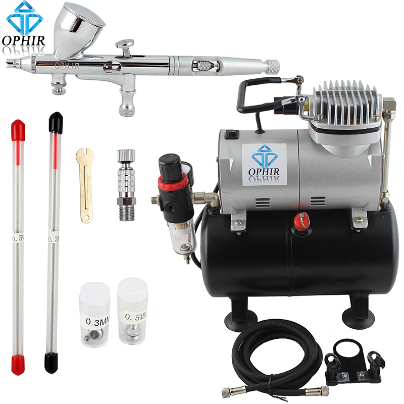 OPHIR Pro Dual-Action Airbrush 3 Tips 0.2mm 0.3mm 0.5mm with Mini Air Compressor for Nail Art Body Paint 110V,220V#AC090+AC070