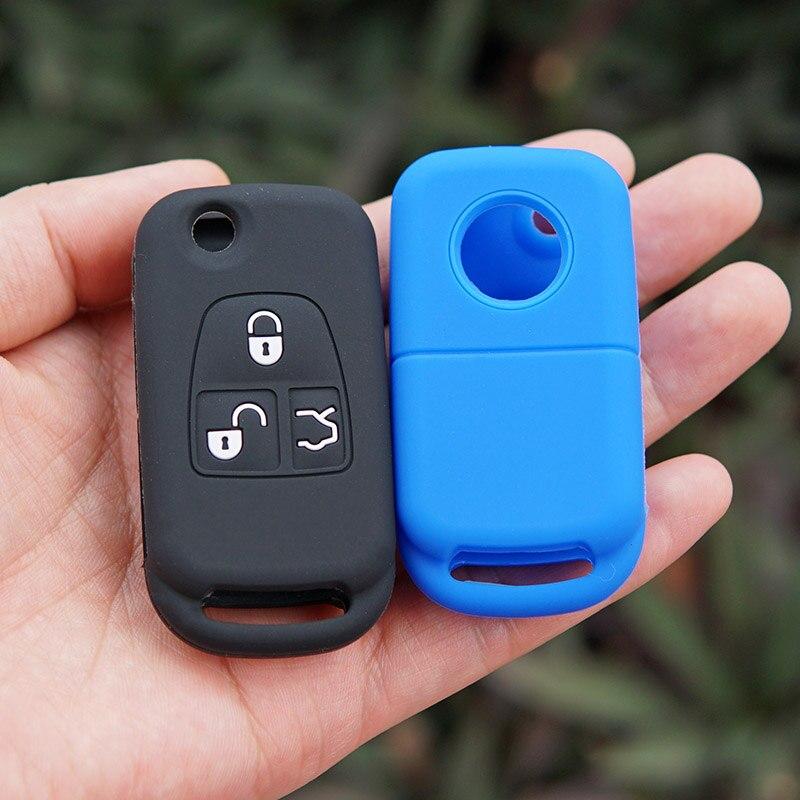 Blue Silicone Car Key Fob Case Cover For Mercedes Benz 3 Key fob